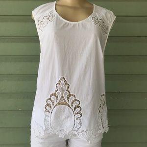 Cynthia Rowley White Cotton Lace Tank Top crochet